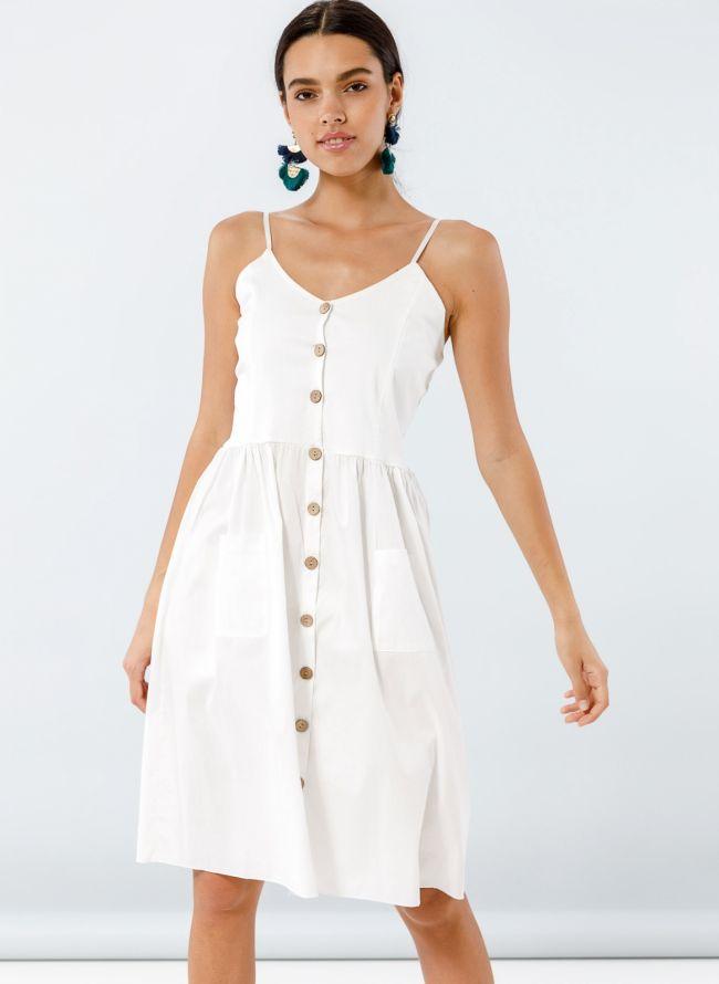 Φόρεμα ποπλίνα με ξύλινα κουμπιά - Λευκό