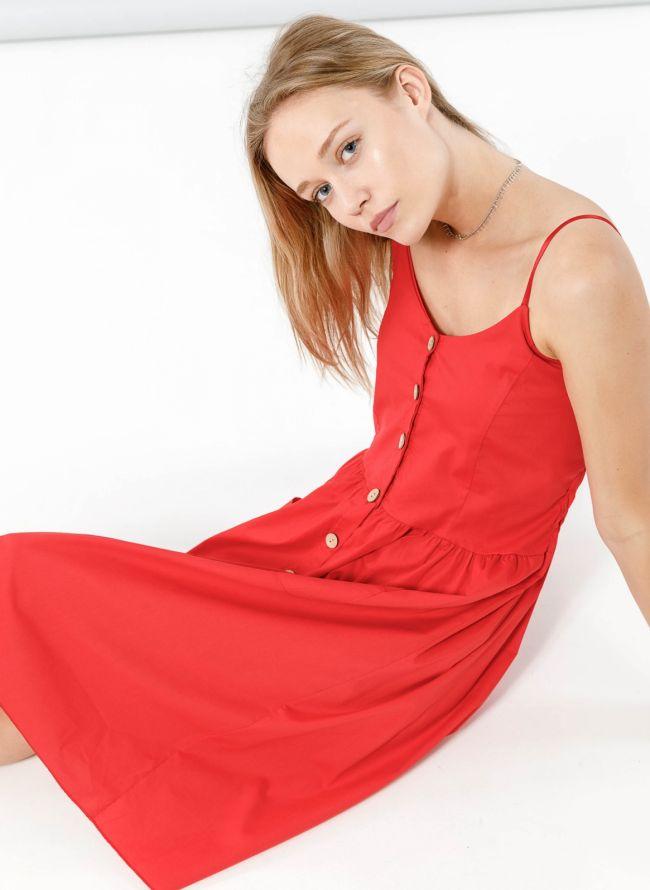 Φόρεμα ποπλίνα με ξύλινα κουμπιά - Κόκκινο
