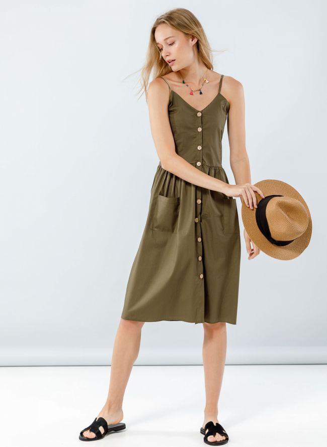 Φόρεμα ποπλίνα με ξύλινα κουμπιά - Χακί