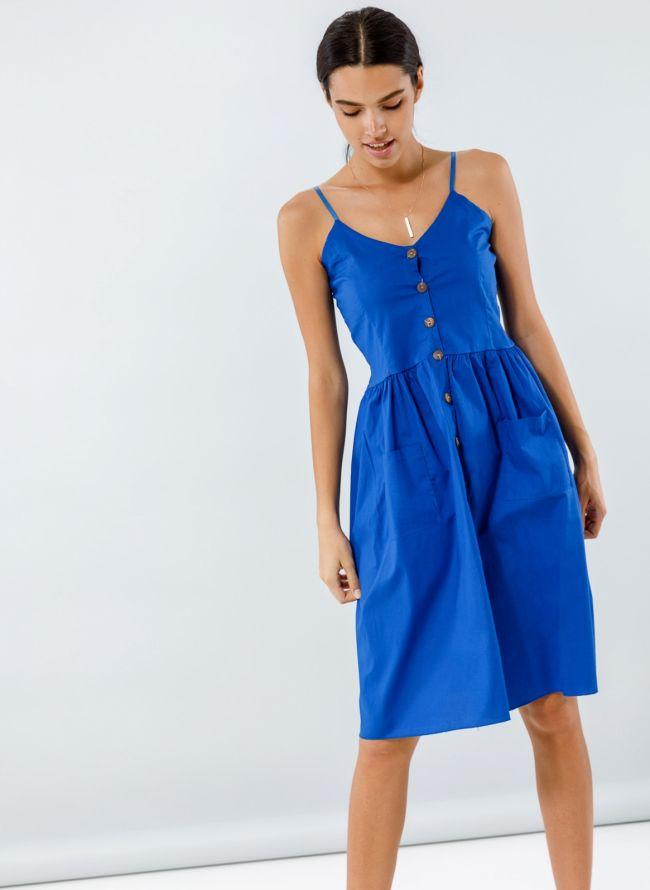 Φόρεμα ποπλίνα με ξύλινα κουμπιά - Ίντιγκο
