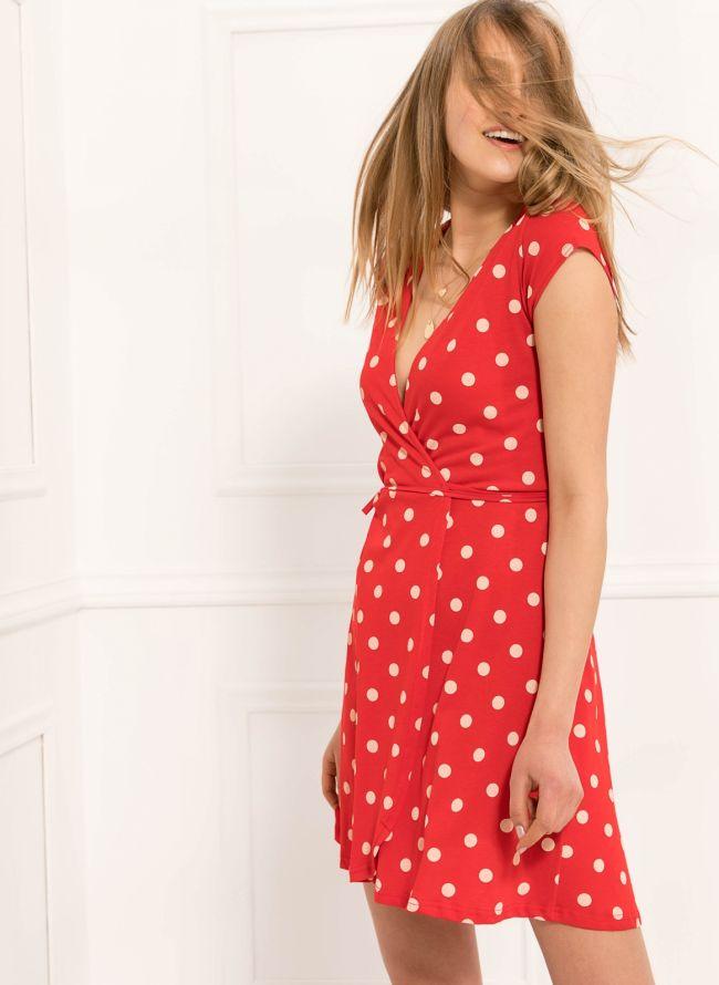 Φόρεμα πουά κρουαζέ  - Κόκκινο