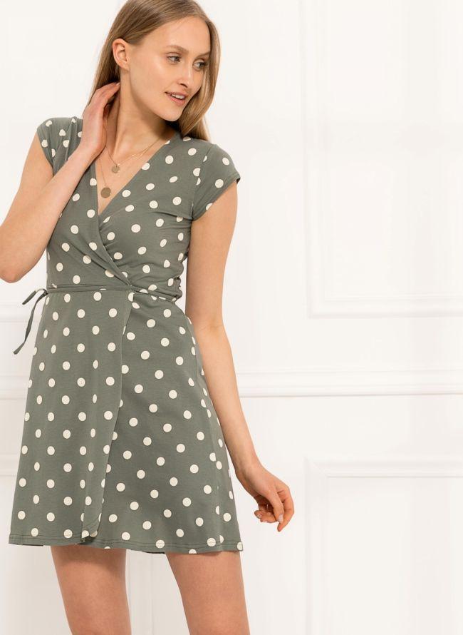 Φόρεμα πουά κρουαζέ  - Χακί