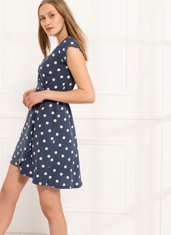 Φόρεμα πουά κρουαζέ  - Μπλε