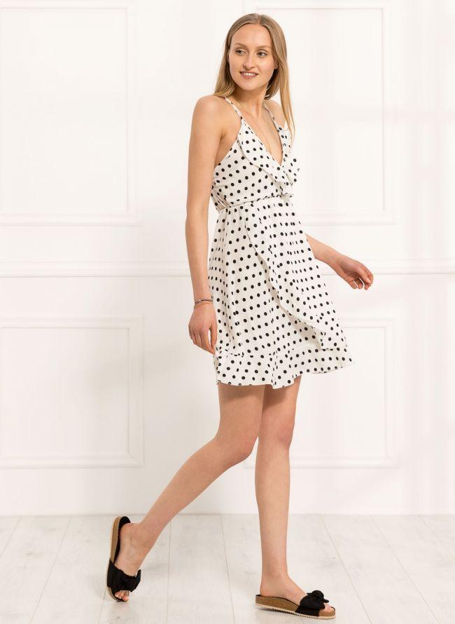Φόρεμα πουά με βολάν - Λευκό