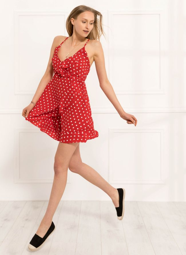 Φόρεμα πουά με βολάν - Κόκκινο