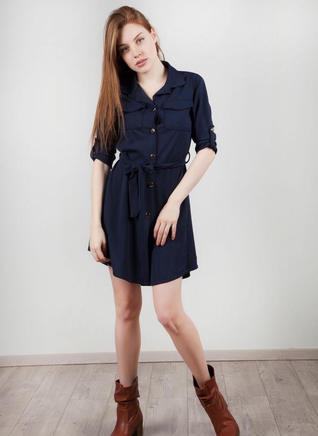 Φόρεμα-πουκάμισο - Μπλε σκούρο