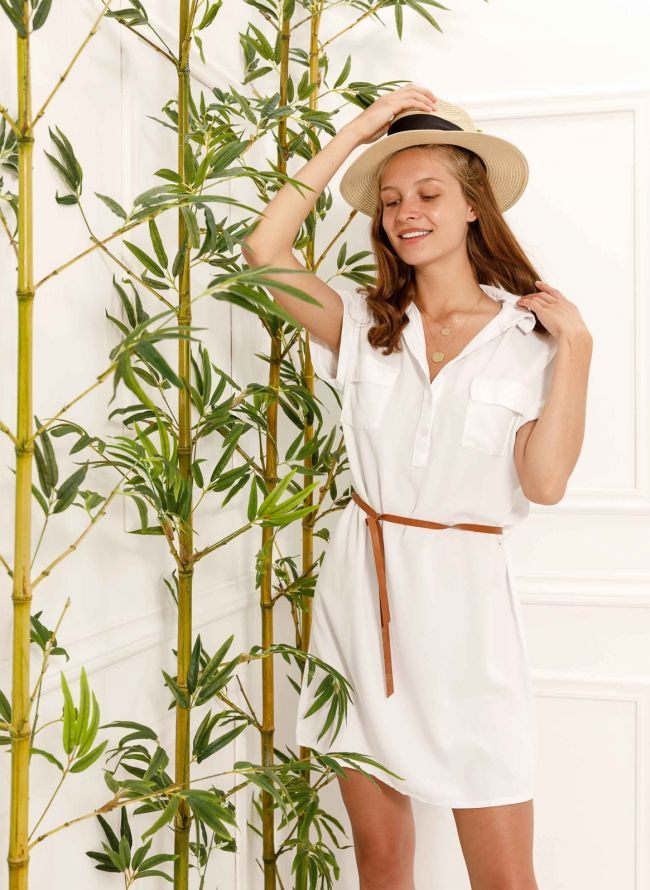 Φόρεμα πουκάμισο με δερμάτινο ζωνάκι - Λευκό
