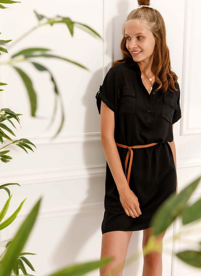 Φόρεμα πουκάμισο με δερμάτινο ζωνάκι - Μαύρο