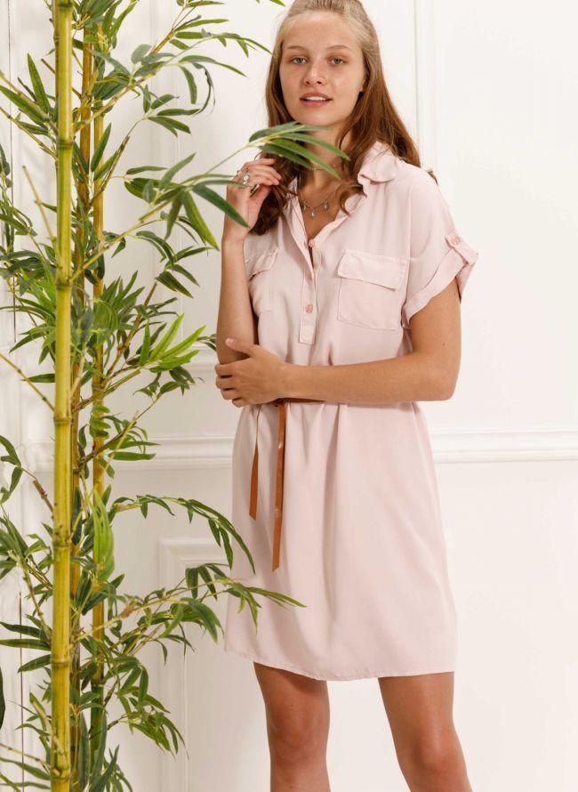 Φόρεμα πουκάμισο με δερμάτινο ζωνάκι - Ροζ