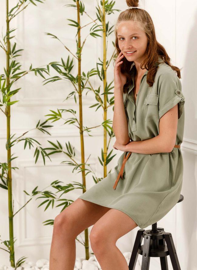 Φόρεμα πουκάμισο με δερμάτινο ζωνάκι - Χακί