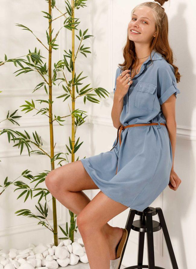 Φόρεμα πουκάμισο με δερμάτινο ζωνάκι - Μπλε jean