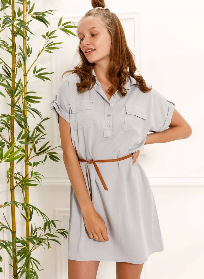 Φόρεμα πουκάμισο με δερμάτινο ζωνάκι - Γκρι