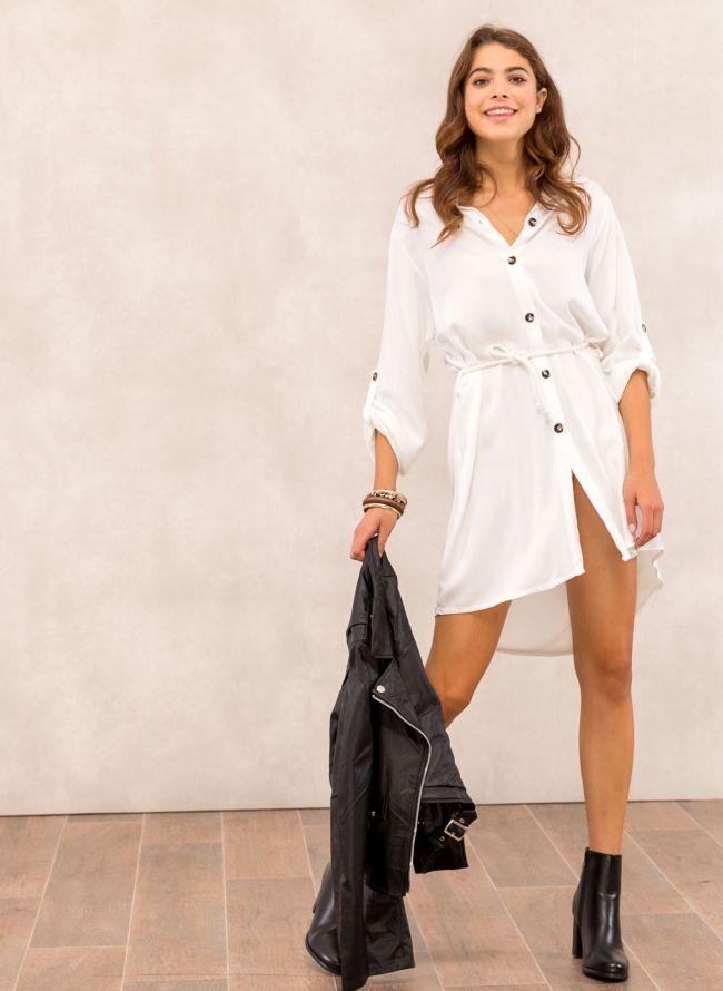 Φόρεμα πουκάμισο με σχοίνινο ζωνάκι - Λευκό