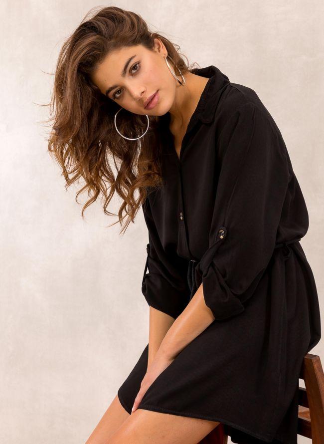 Φόρεμα πουκάμισο με σχοίνινο ζωνάκι - Μαύρο