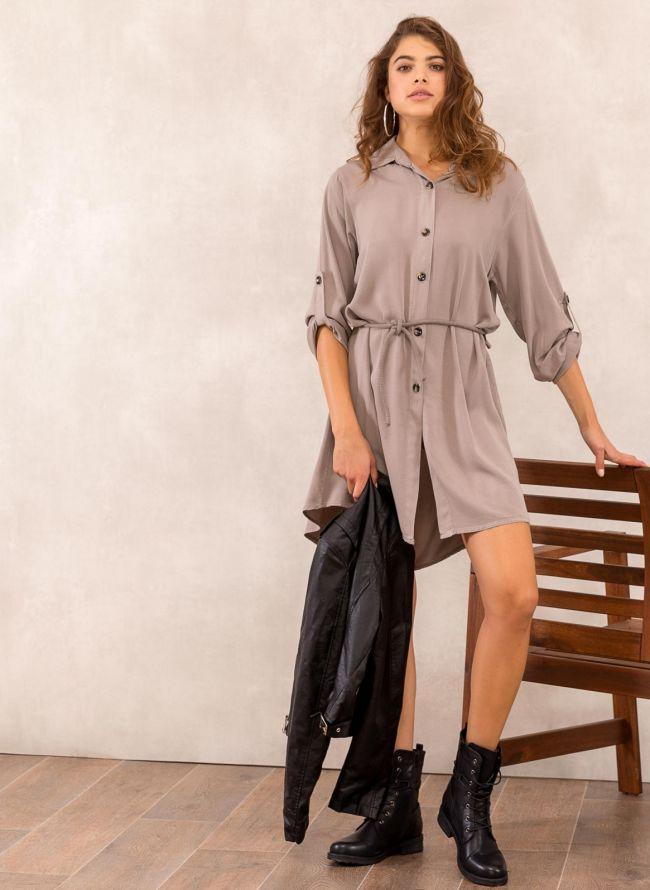 Φόρεμα πουκάμισο με σχοίνινο ζωνάκι - Πούρο