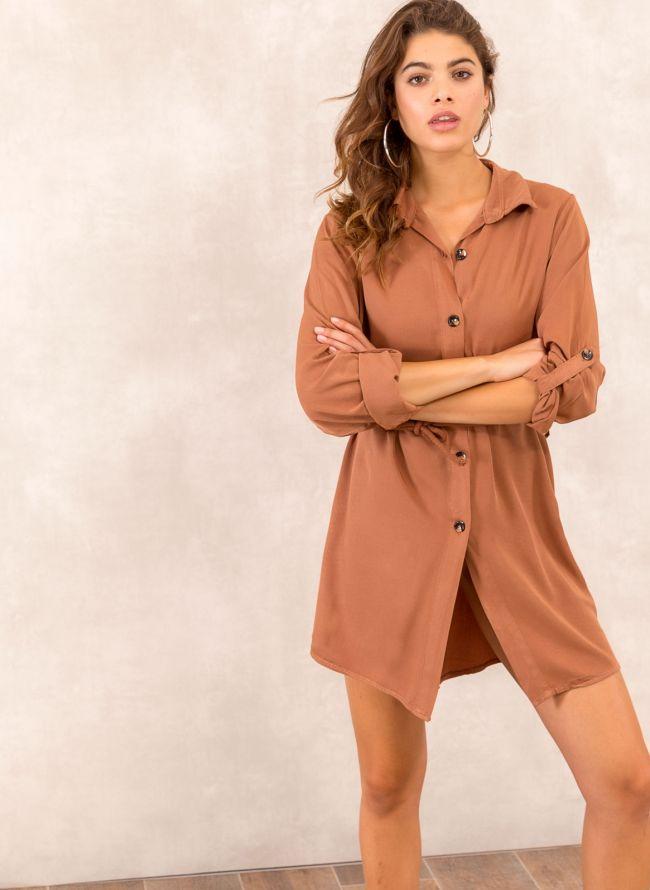 Φόρεμα πουκάμισο με σχοίνινο ζωνάκι - Ταμπά