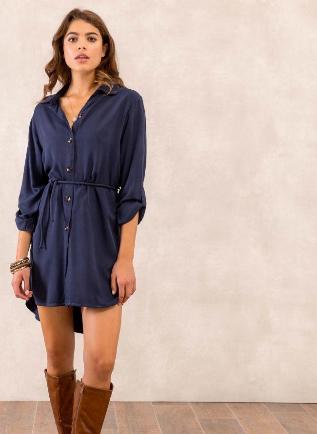 Φόρεμα πουκάμισο με σχοίνινο ζωνάκι - Μπλε σκούρο