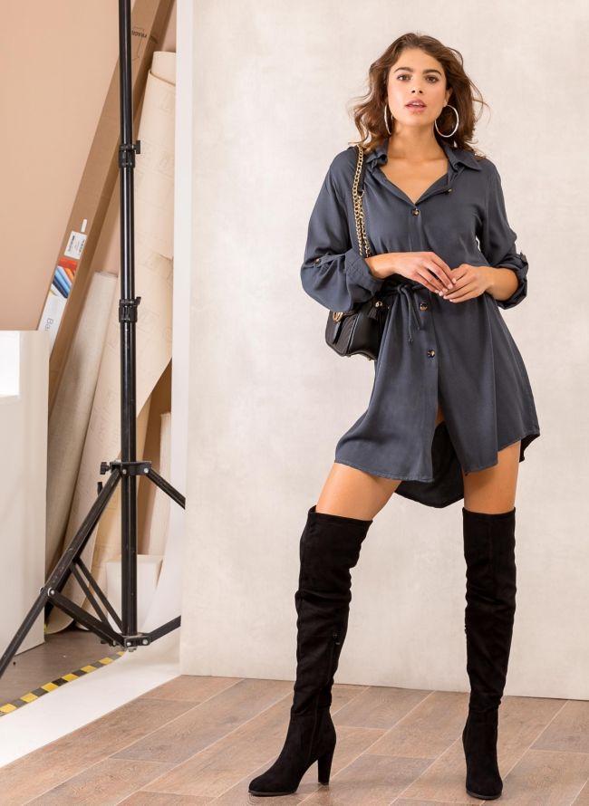 Φόρεμα πουκάμισο με σχοίνινο ζωνάκι - Ανθρακί