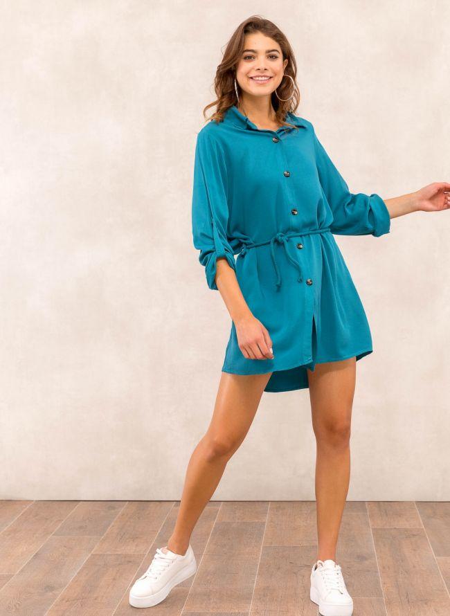 Φόρεμα πουκάμισο με σχοίνινο ζωνάκι - Petrol