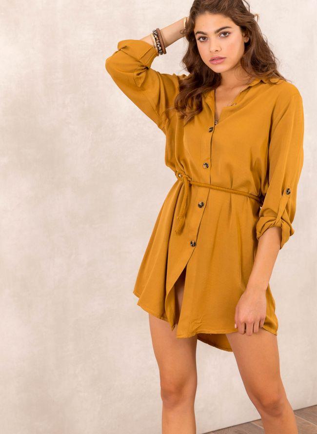 Φόρεμα πουκάμισο με σχοίνινο ζωνάκι - Μουσταρδί