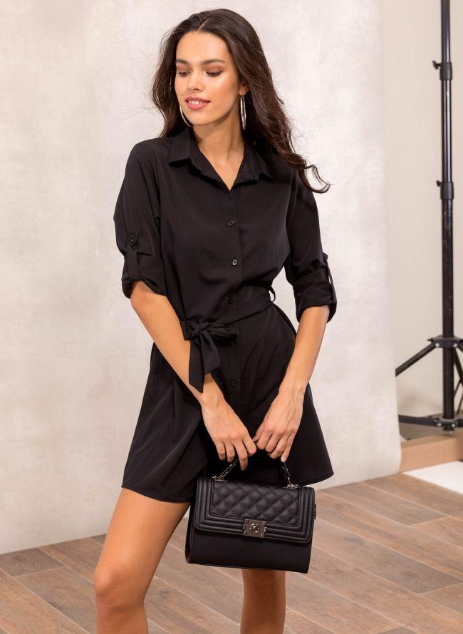 Φόρεμα πουκάμισο με υφασμάτινο ζωνάκι - Μαύρο