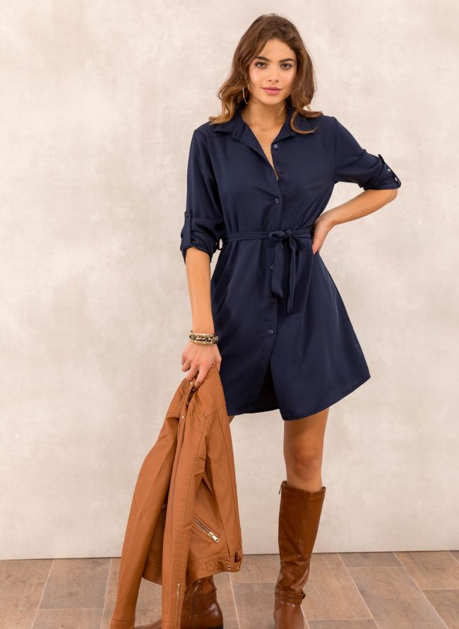 Φόρεμα πουκάμισο με υφασμάτινο ζωνάκι - Μπλε σκούρο