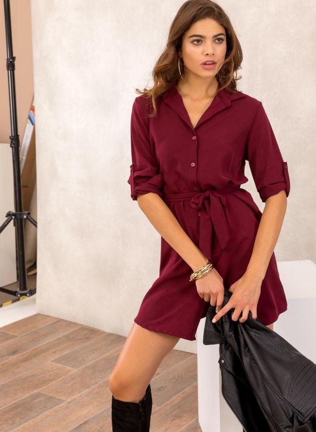 Φόρεμα πουκάμισο με υφασμάτινο ζωνάκι - Μπορντώ