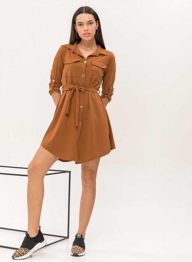 Φόρεμα πλισέ με κουμπιά στον ώμο - Μαύρο - TheFashionProject 58ae5f115b7