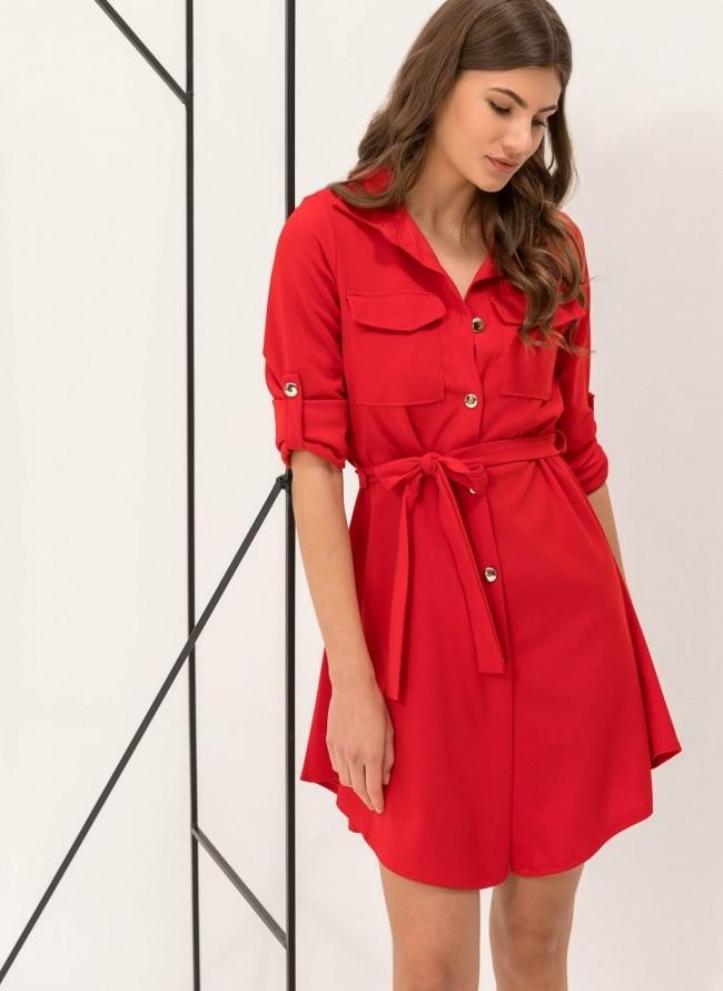 Φόρεμα-πουκάμισο με χρυσά κουμπιά - Κόκκινο bd86e75afae