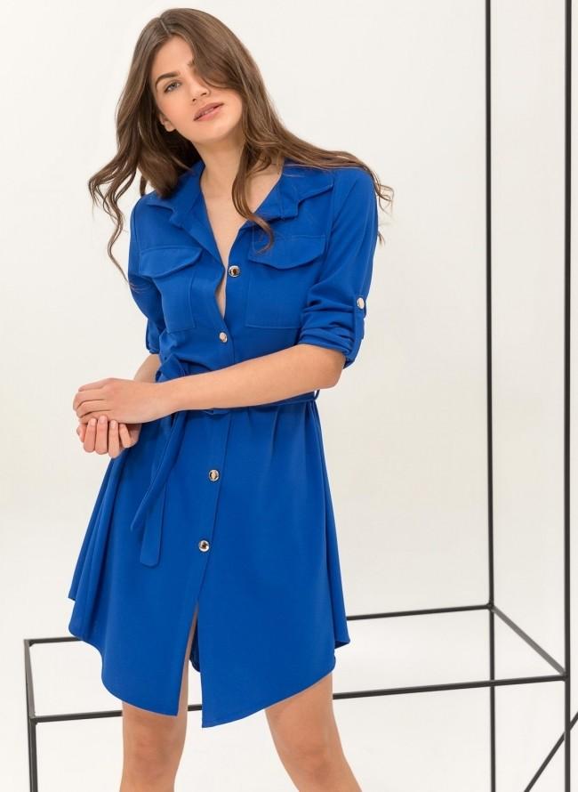 Φόρεμα με πέρλες στο γιακά και τα μανίκια - Μπλε - TheFashionProject 8aae7ef6e4f