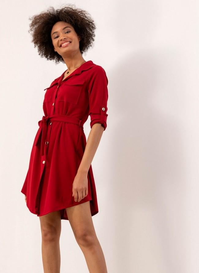 cee087db0599 Φόρεμα-πουκάμισο με χρυσά κουμπιά - Μπορντώ