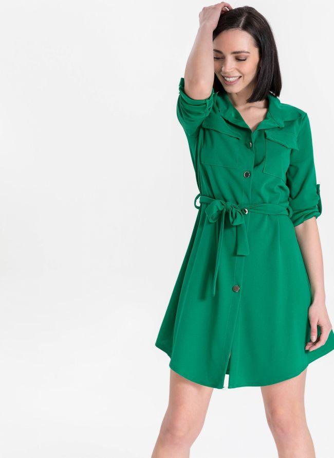 Φόρεμα πουκάμισο με ζωνάκι - Πράσινο