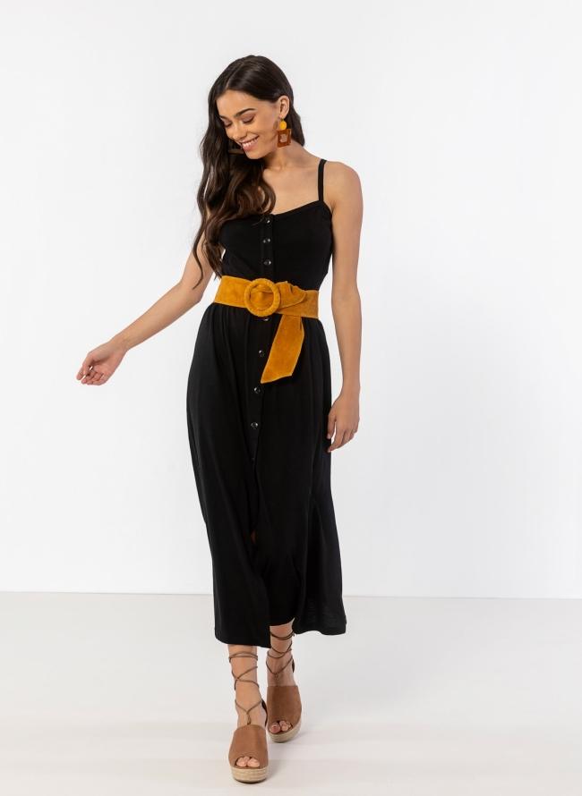 ad73f9917ea Φόρεμα ραντάκι με κουμπιά - Μαύρο