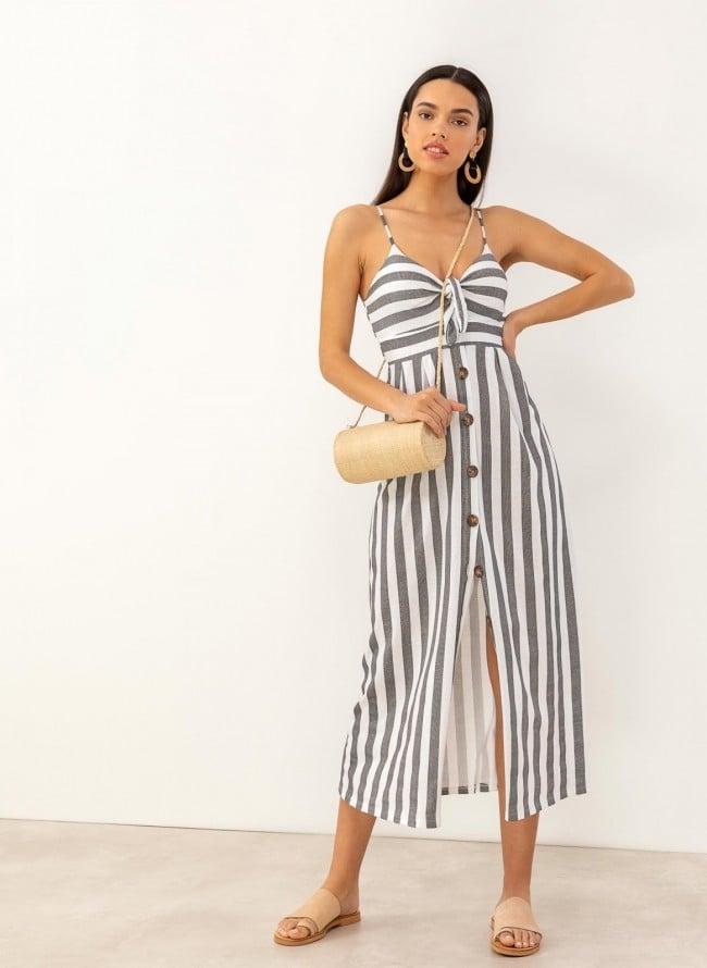 7f68f9961b72 Φόρεμα ριγέ με κουμπιά - Μαύρο
