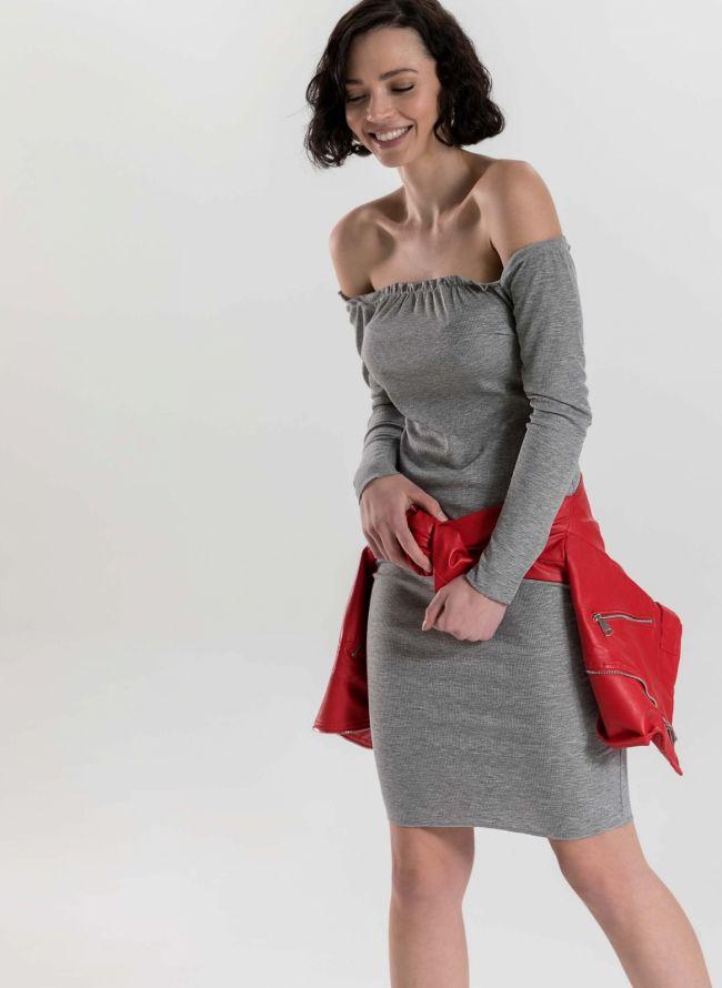 Φόρεμα rip strapless - Γκρι