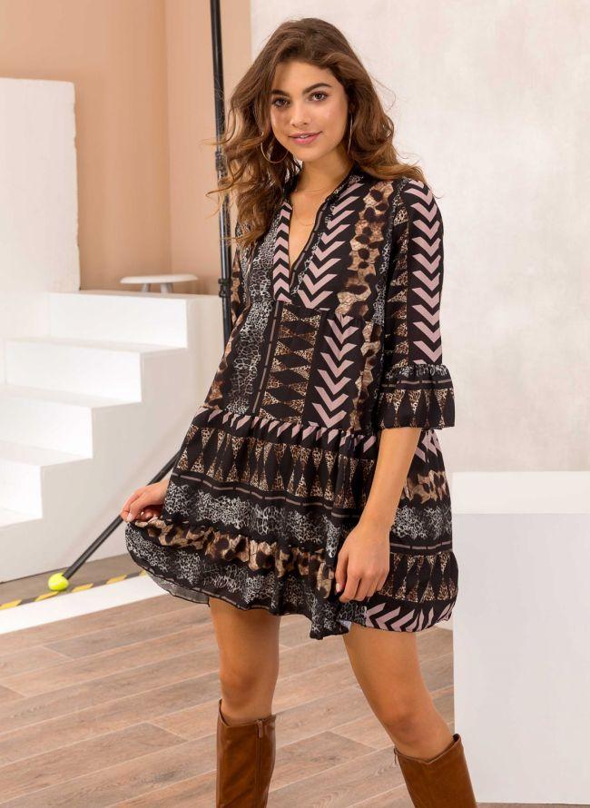 Φόρεμα σε άνετη γραμμή με animal prints - Nude