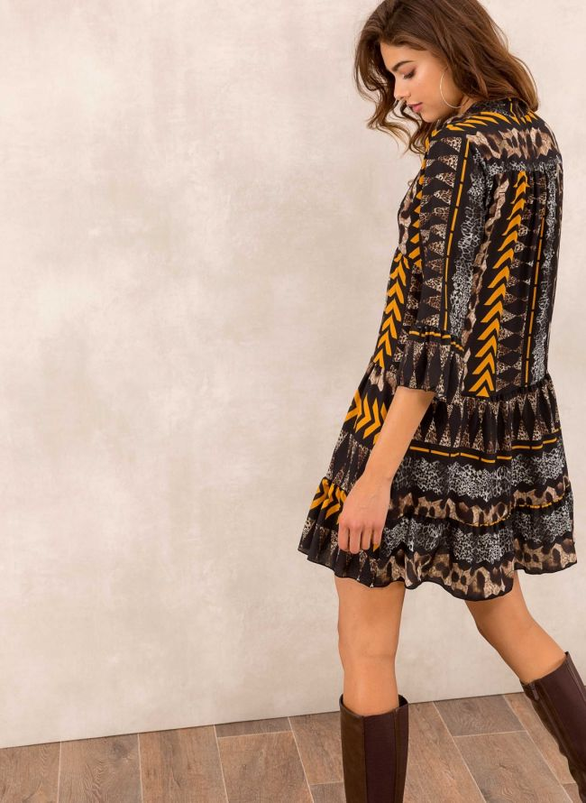 Φόρεμα σε άνετη γραμμή με animal prints - Μουσταρδί