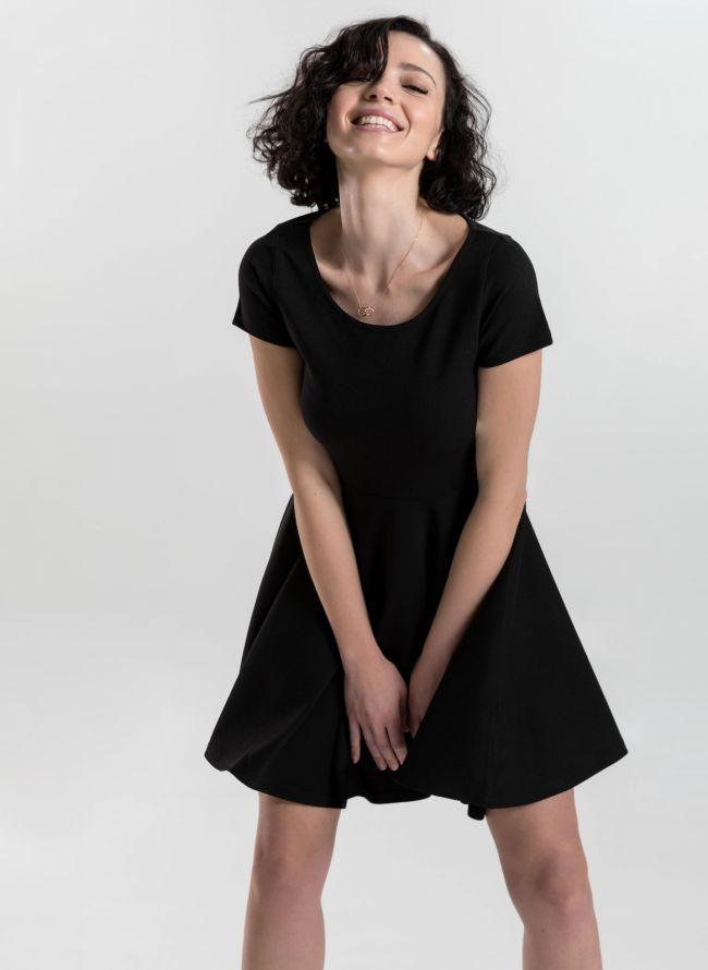 Φόρεμα σε εβαζέ γραμμή - Μαύρο