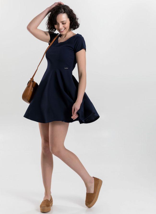 Φόρεμα σε εβαζέ γραμμή - Μπλε σκούρο