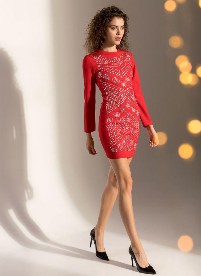 Φόρεμα σε ίσια γραμμή με τρουκς - Κόκκινο bbc6ee0d203