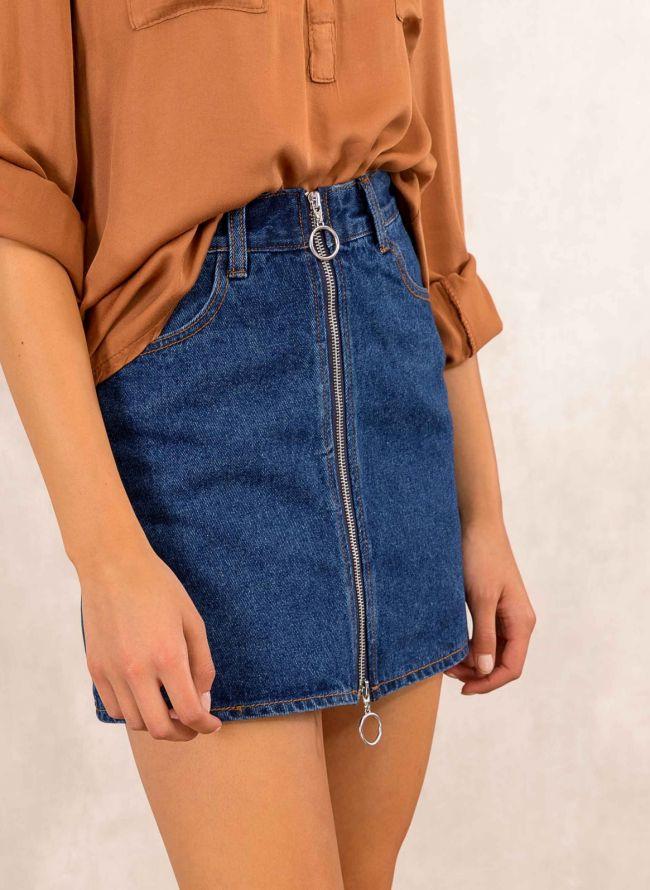 Jean φούστα με μεταλλικό φερμουάρ - Μπλε jean