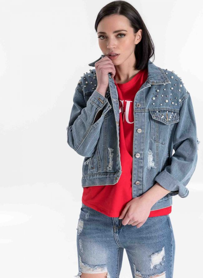 Jean jacket με πέρλες  - Μπλε jean