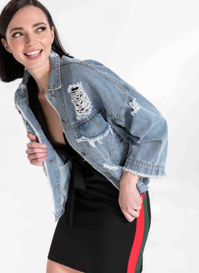 Jean jacket με σκισίματα - Μπλε jean