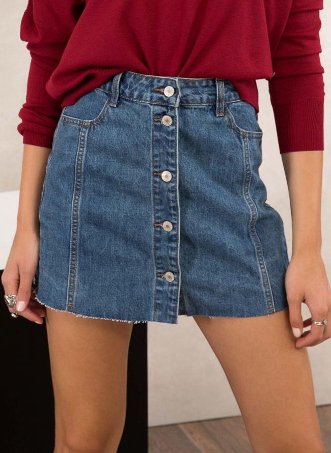 Jean ψηλόμεση φούστα με κουμπιά - Μπλε jean
