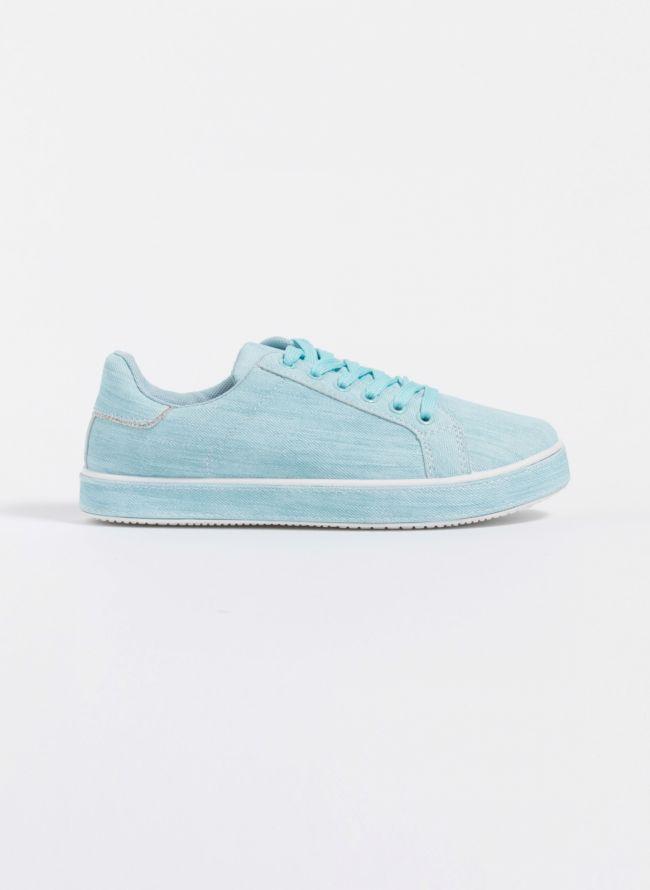 Jean sneakers με ντυμένη σόλα - Γαλάζιο