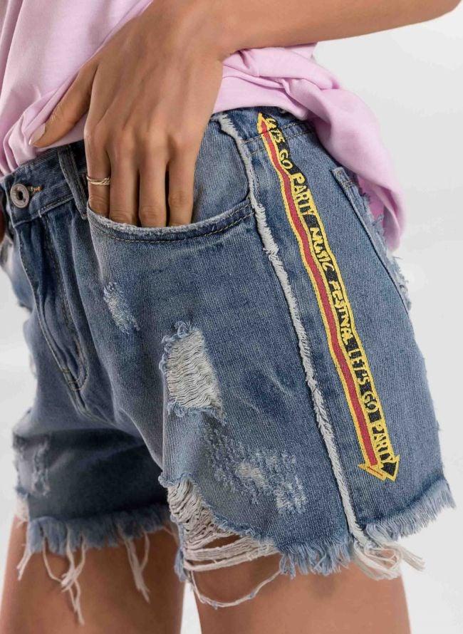 Jean σορτς με logo στο πλάι - Μπλε jean