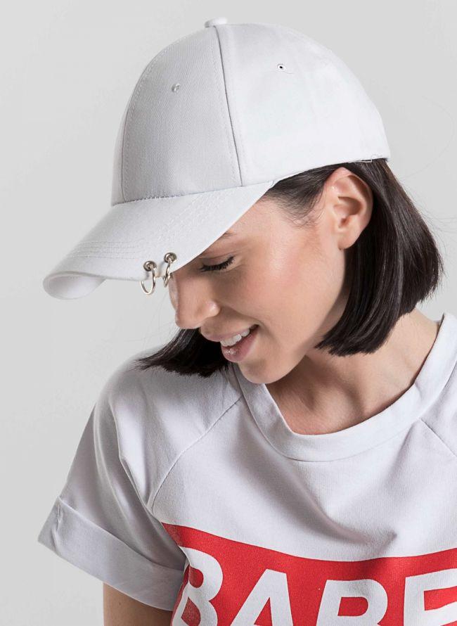 Καπέλο τζόκεϊ με κρίκους στο γείσο - Λευκό