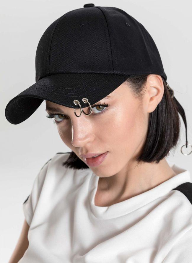 Καπέλο τζόκεϊ με κρίκους στο γείσο - Μαύρο