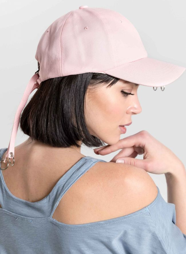 Καπέλο τζόκεϊ με κρίκους στο γείσο - Ροζ