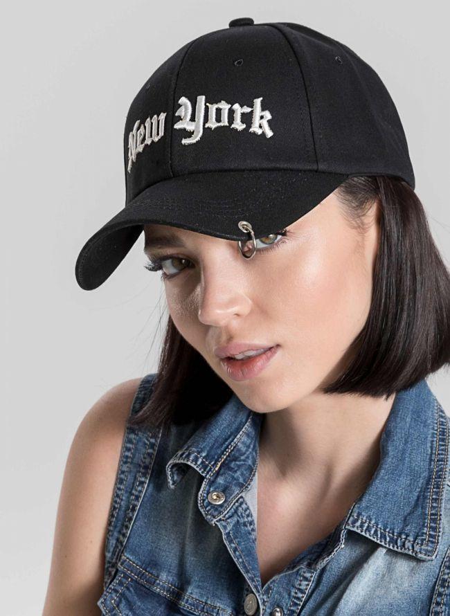 Καπέλο τζόκεϊ με μήνυμα NEW YORK - Μαύρο